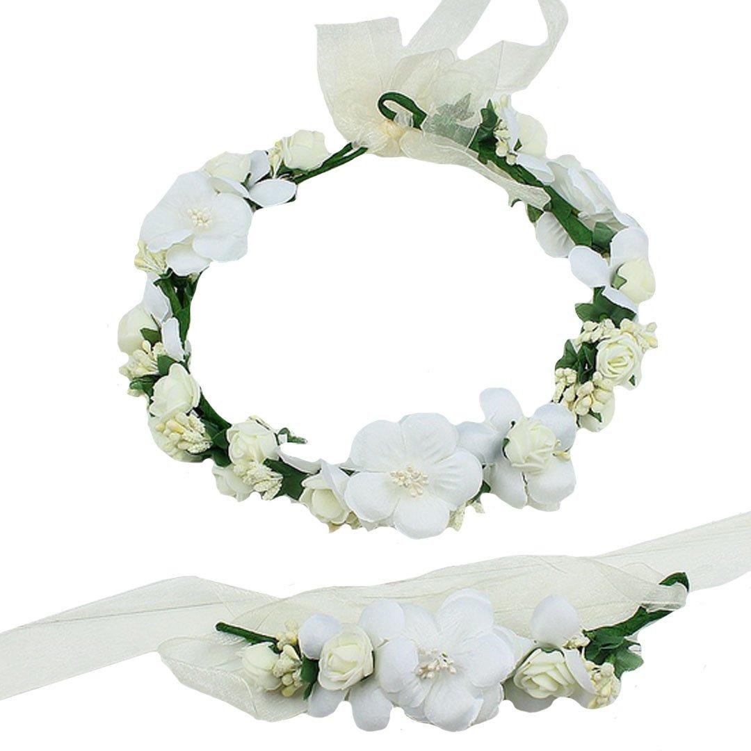 ABBY Simulation Bracelet fleur bande de cheveux costume de paternité L'Europe balnéaire mariage mariée Mode de couronne de fleurs Couleur crème