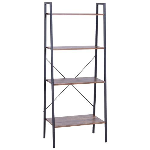 HOMCOM 4 Tier Ladder Shelf Bookshelf Industrial Wood Metal Living Room Bathroom Storage Rack Accent Furniture