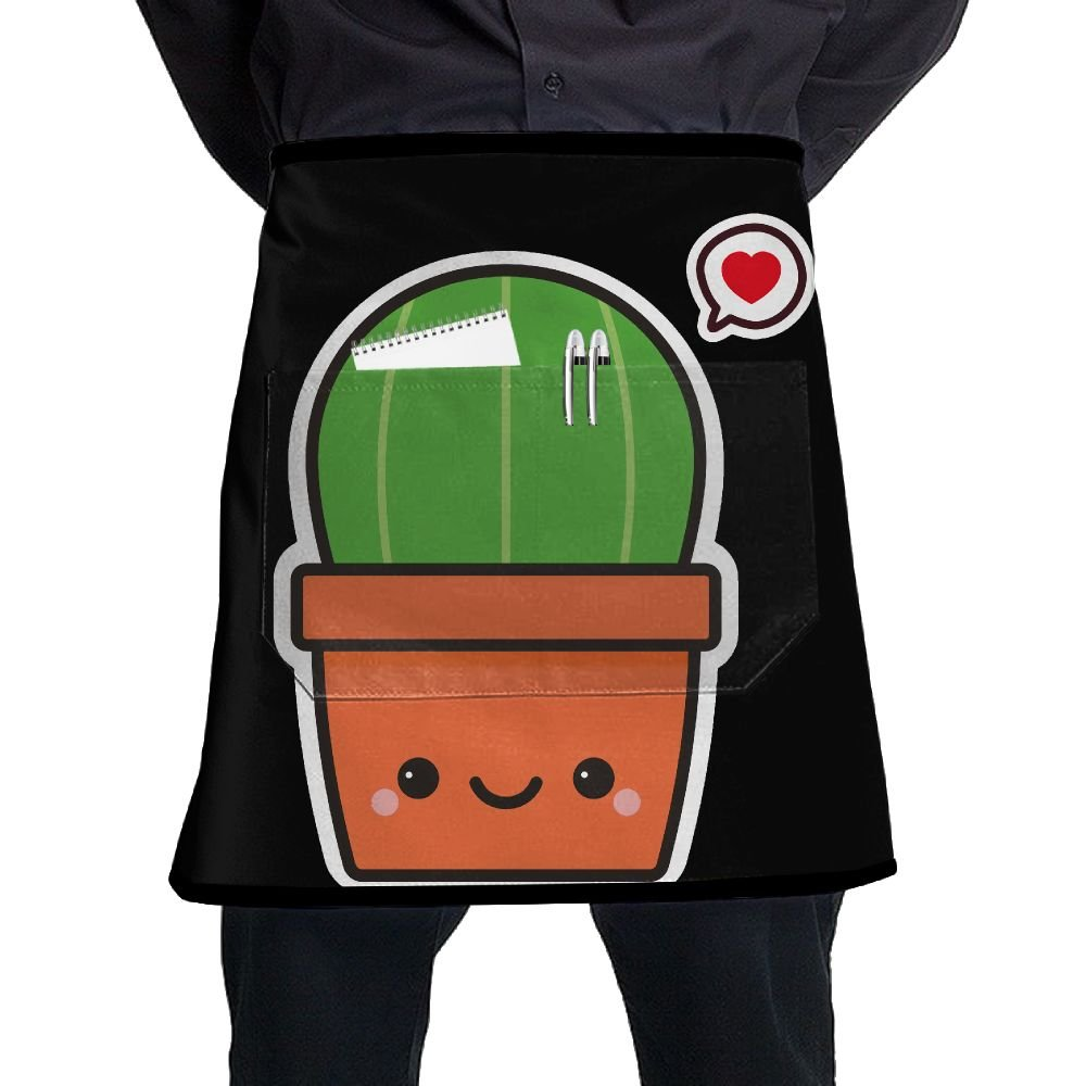 Love Catus Cute Restaurant Cooking Kitchen Half Body Waist Aprons Sewing Pocket Apron