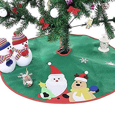 Ohuhu 36quot Tree Skirt Green Santa Claus Reindeer Embroidered Christmas