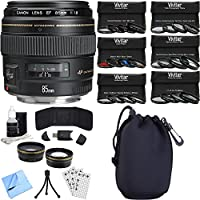 Canon EF 85mm f/1.8 USM Medium Telephoto Lens for Canon SLR Cameras Photography Bundle includes Lens, Pouch, 58mm Ultimate Filter Kit, Wide Angle Lens, Telephoto Lens, Beach Camera Cloth and More