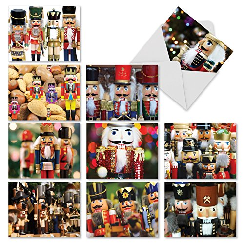10 Assorted 'Merry Crackers' Christmas Cards with Envelopes (4 x 5.12 Inch), Blank Holiday Greeting Cards with Vintage Christmas Nutcrackers, Seasonal Stationery for Xmas, New Year, Gifts M3269