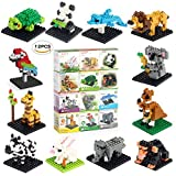 Fun Little Toys Animal Nanoblock Mini Building Blocks Zoo Set-12 Styles for Girls or Boys Birthday Party Gift, Goodie Bags, Kids Prizes
