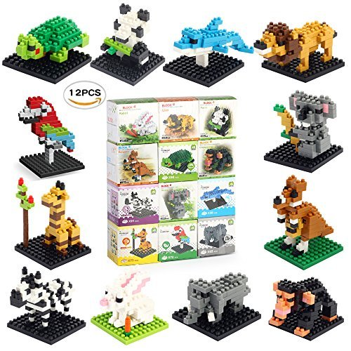 Fun Little Toys Animal Nanoblock Mini Building Blocks Zoo Set-12 Styles for Girls or Boys Birthday Party Gift, Goodie Bags, Kids Prizes by Fun Little Toys