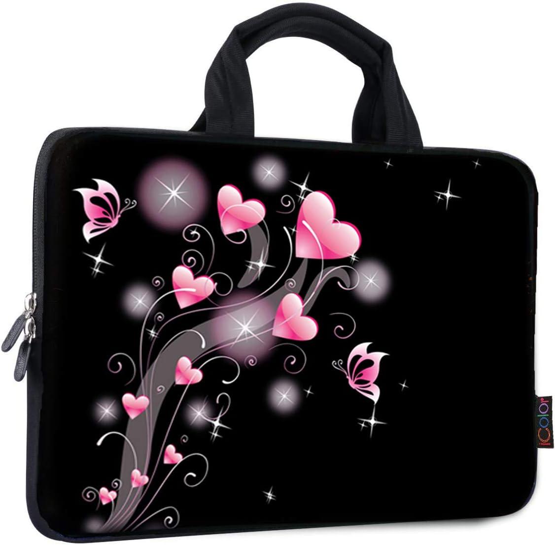 ICOLOR 11 11.6 12 12.1 12.5 inch Laptop Carrying Bag Chromebook Case Notebook Ultrabook Bag Tablet Cover Neoprene Laptop Sleeve case chromebook Sleeve with Handle Kids Boys Girls Pink Heart