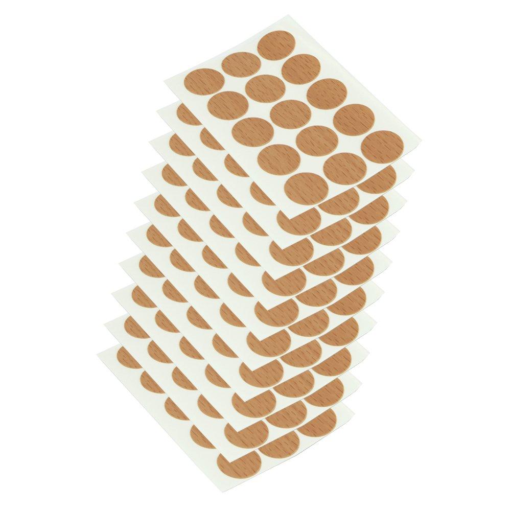 Emuca 4026428 Tapa embellecedora adhesiva, Ø 13mm, Efecto textil beige, Lote de 200 piezas Ø13mm