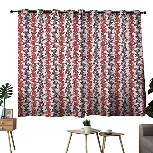 (NUOMANAN Window Curtains Koi Fish,Hibiscuses Carp Koi Vertebrates in The Pattern of Harmony Between East and West,Eggplant Ruby,Living Room and Bedroom Multicolor Printed Curtain Sets 42