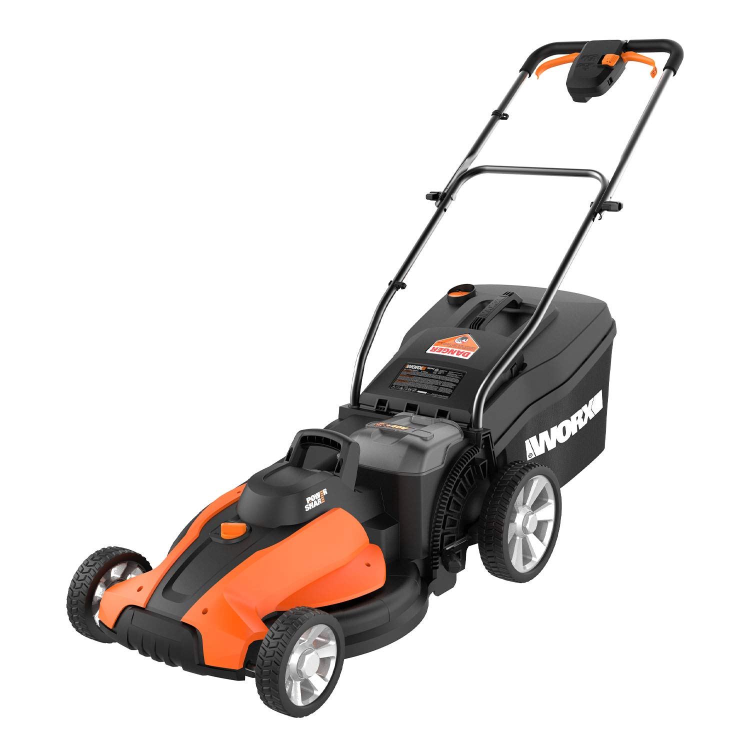 Worx WG744 17-inch 2x20V (4.0Ah) Cordless Lawn Mower, 2 Batteries and Charger Included