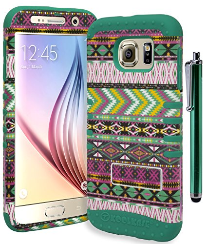 Galaxy S6 Phone Case, Bastex Heavy Duty Hybrid Protective Case - SoftTeal Silicone Cover with Baby Pink AztecTribal Design Kickstand Case for Samsung Galaxy S6 (Includes Stylus)