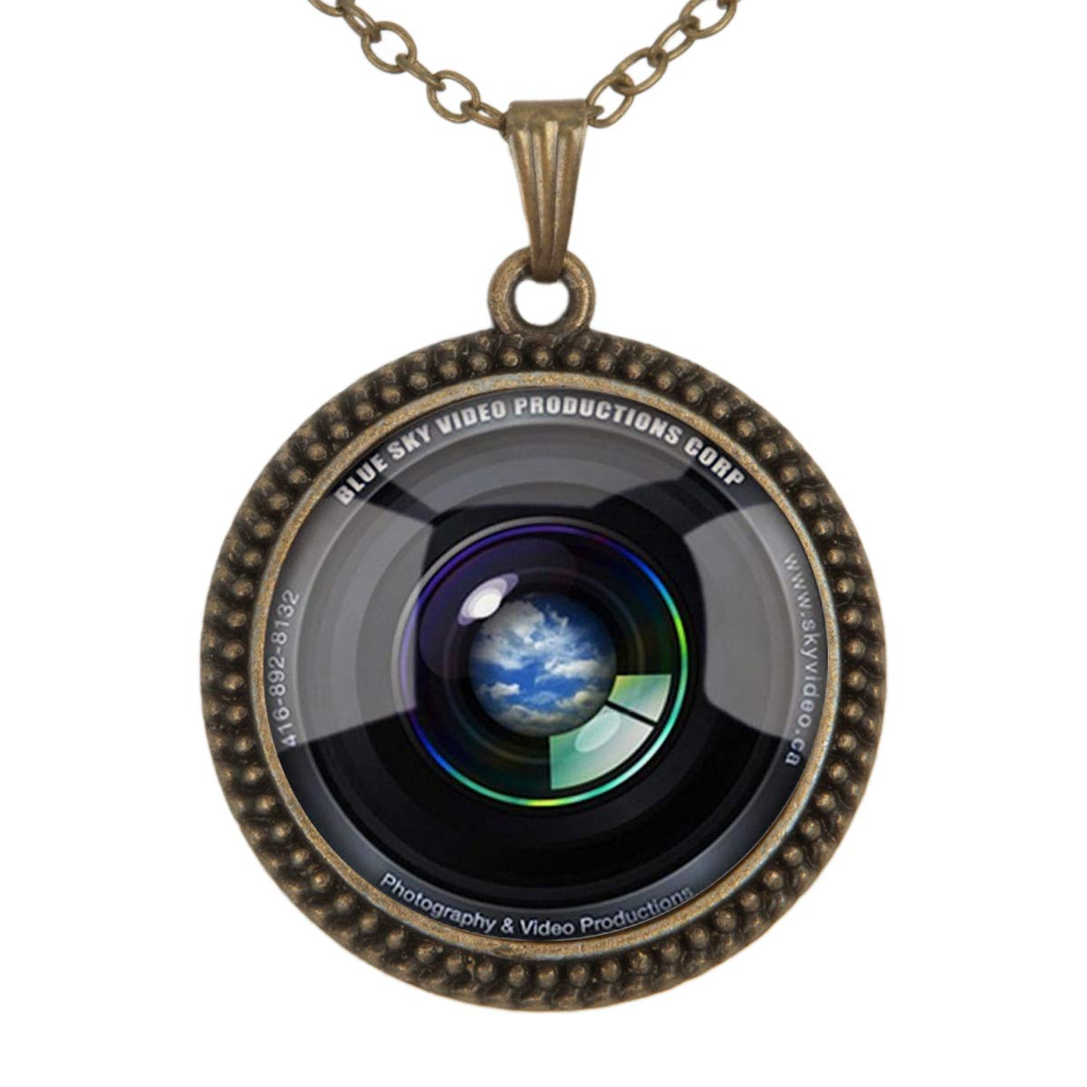 Lightrain Blue Sky Camera Lens Pendant Necklace Vintage Bronze Chain Statement Necklace Handmade Jewelry Gifts