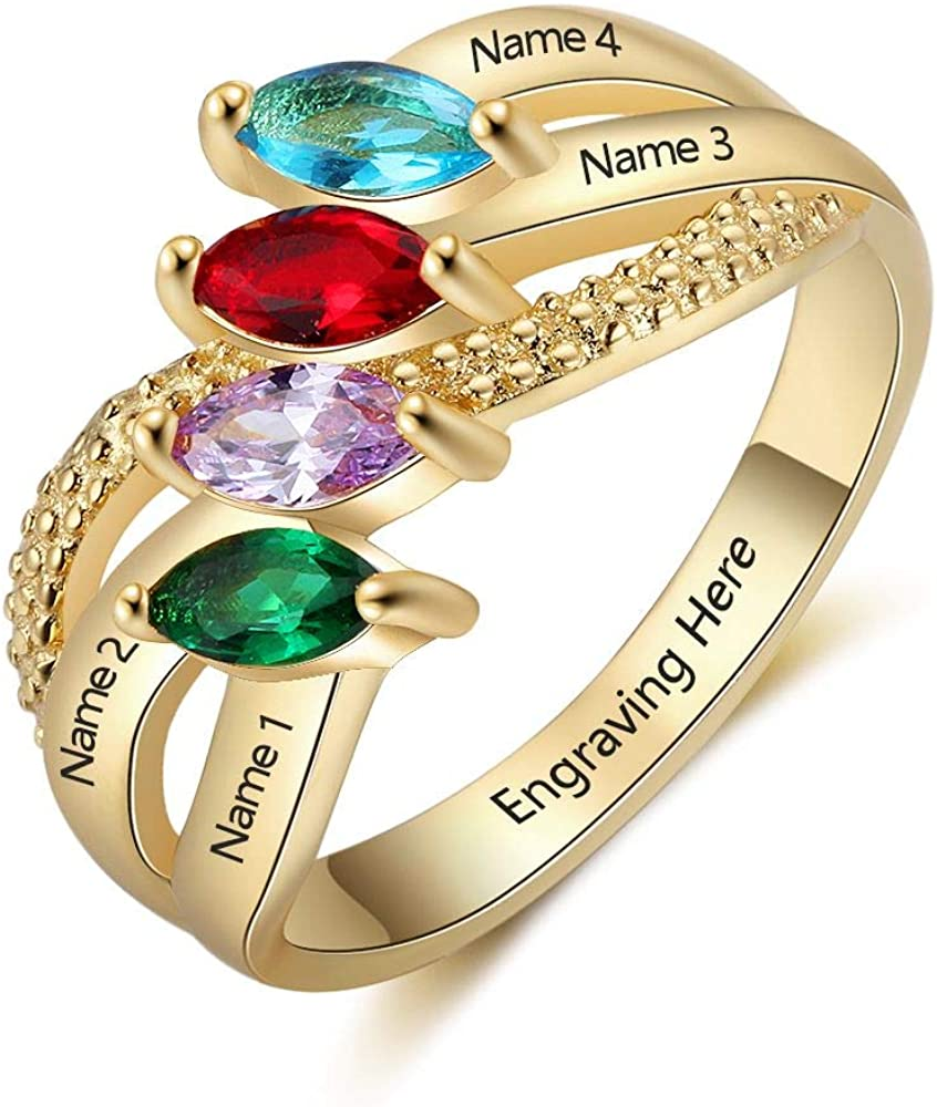 Personalized Sterling Silver Mothers Ring with 4 Simulated Birthstones Rings for Mother's Day Engravable Family Name Rings for 4 Mother's Day Rings for Mom