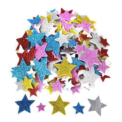 Bestartstore170pcs 1.5~3.5cm Mix-color Self-adhesive Star Shape Glitter EVA Stickers for Kids Craft (Frame Color Home Stars)