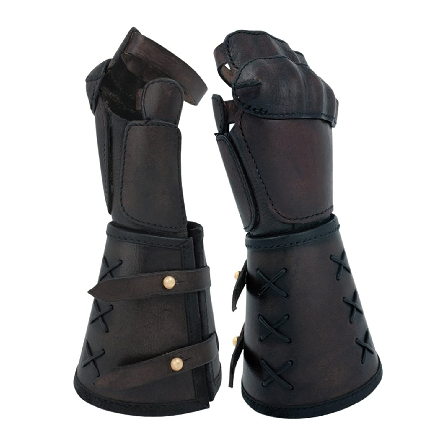 Mens Single Pair Black Genuine Leather Gauntlet
