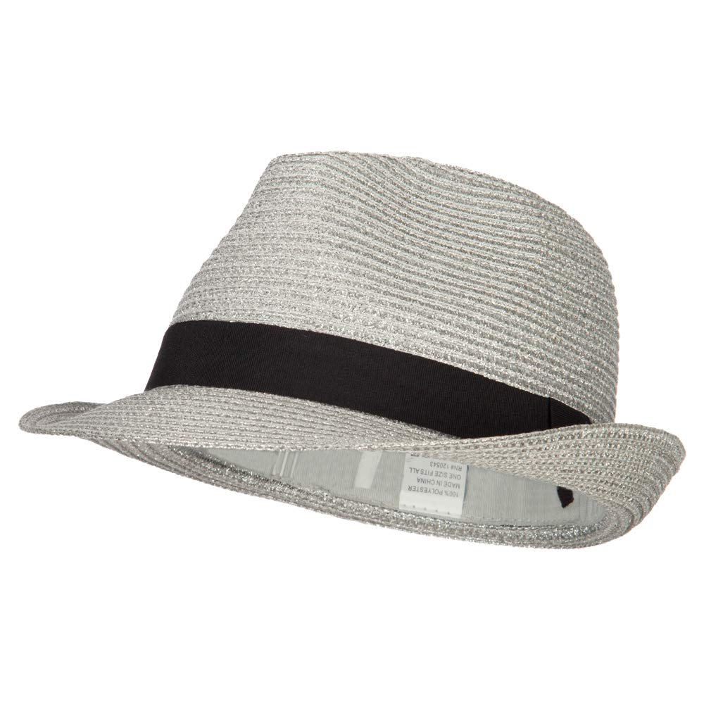Jeanne Simmons Women's Metallic and Black Ribbon Fedora - Silver OSFM