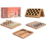3 in 1 Wooden Board Game Set Compendium Travel Games Chess Backgammon Draughts Entertainment International Chess Set…