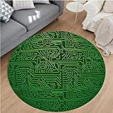 Nalahome Modern Flannel Microfiber Non-Slip Machine Washable Round Area Rug-ter Art Backdrop with Circuit Board Diagram Hardware Wire Illustration Emerald Fern Green area rugs Home Decor-Round 32''