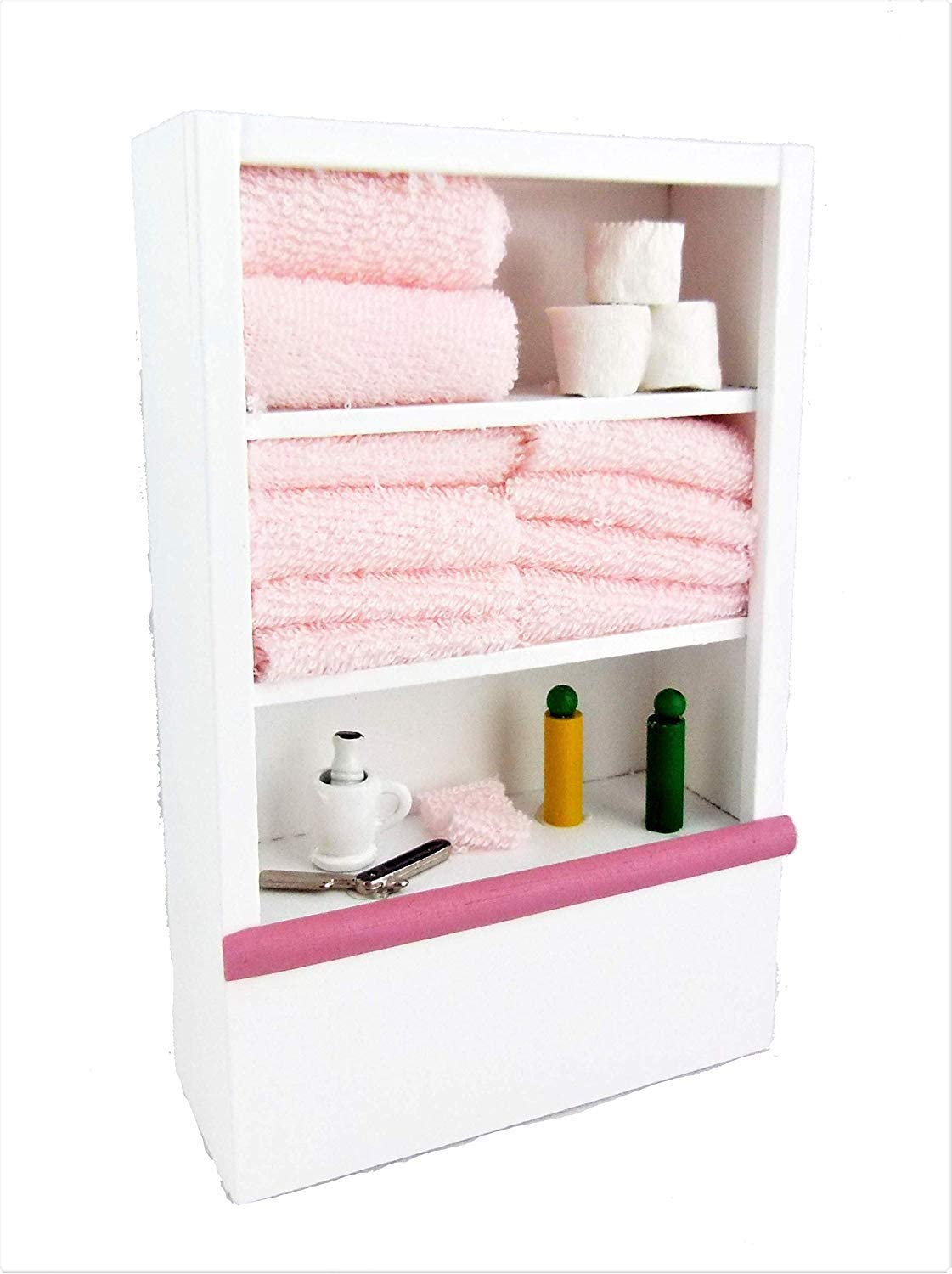 Dollhouse Miniature Furniture White Bathroom Shelf Unit and Accessories Pink