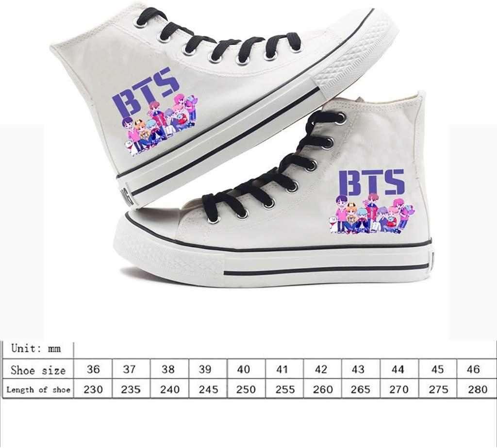 BTS chaussures de toile /à l/épreuve des balles pour les jeunes chaussures Kpop BTS bas pour aider les chaussures de toile noires et blanches /étoiles /étape chau Chaussures bts BTS chaussures de sport