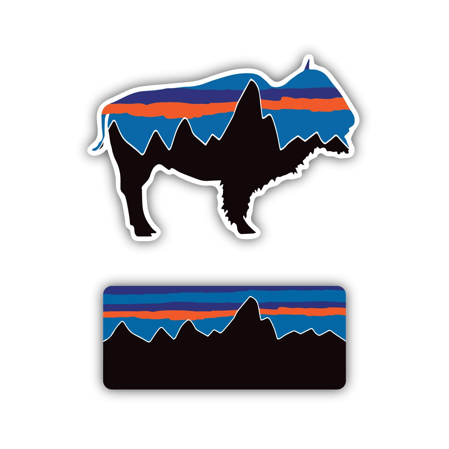 Patagonia Buffalo Combo Decal Sticker for Water Bottles 2pk Premium Matte Waterproof Vinyl