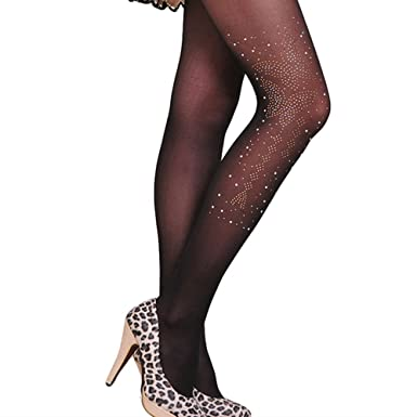 Westeng Collants en Soie Fantaisie Collants Transparent Velours Imprimé  Papillon Diamanté Collants Noir 7cf0c37f3d2