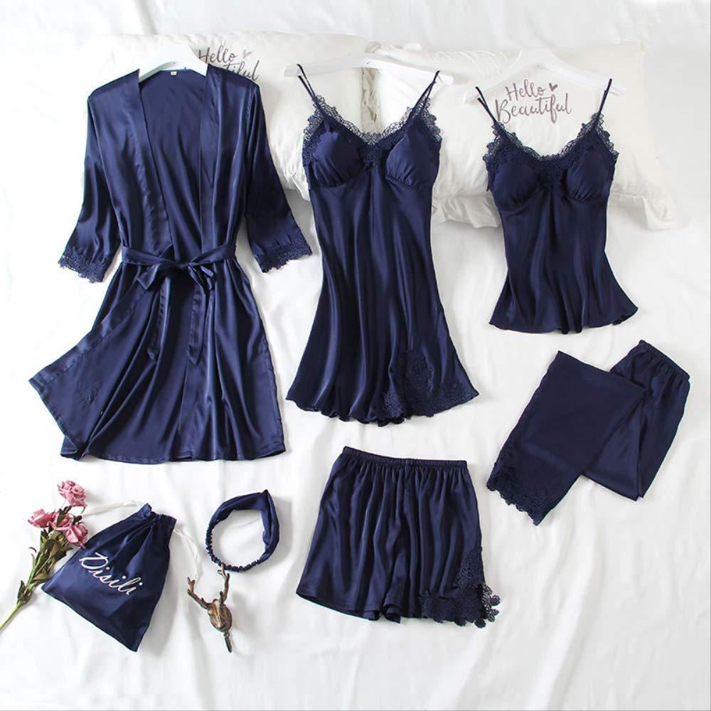 Zangqing L NSSYSKS Summer 7pcs Nightsuit Ladies Pajamas Set Silk Lace Pyjama Satin Sleepwear Nightwear For Women With Chest Pads