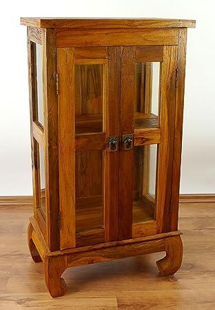 Asiatische Möbel java vitrine aus teakholz vitrinenschrank aus massivholz