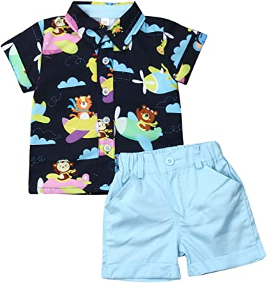 Toddler Baby Boy Flamingo Dinosaur Floral Short Sleeve Button Down Shirt Casual Shorts Set Summer Outfits Clothes