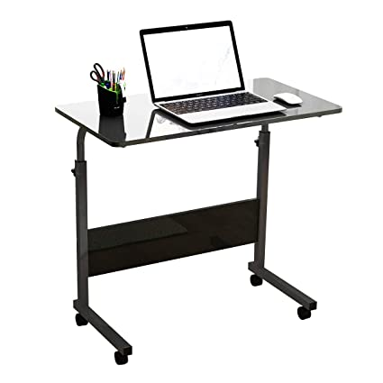 DlandHome Mobile Side Table 31.4 Inches w/Wheels Adjustable Movable Portable Laptop Computer Stand for Bed Sofa, Black, 05-1: Amazon.in: Home & Kitchen