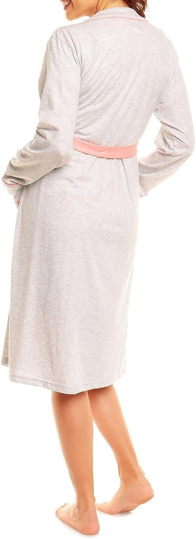 Happy Mama Donna pr/émaman Camicia da Notte Vestaglia Set Allattamento 385p Corallo, IT 46, L