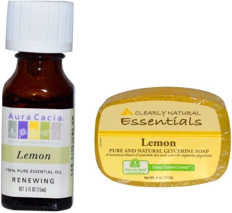 Aura Cacia Essential Oil Lemon y claramente Natural Barra de Jabón ...