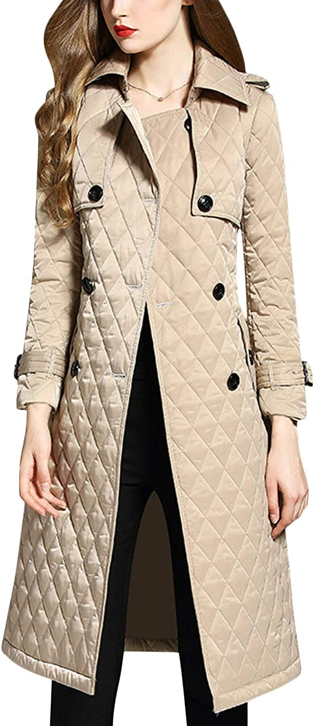 Uaneo Womens Classic Winter Diamond Quilted Long Jacket Coat Outerwear