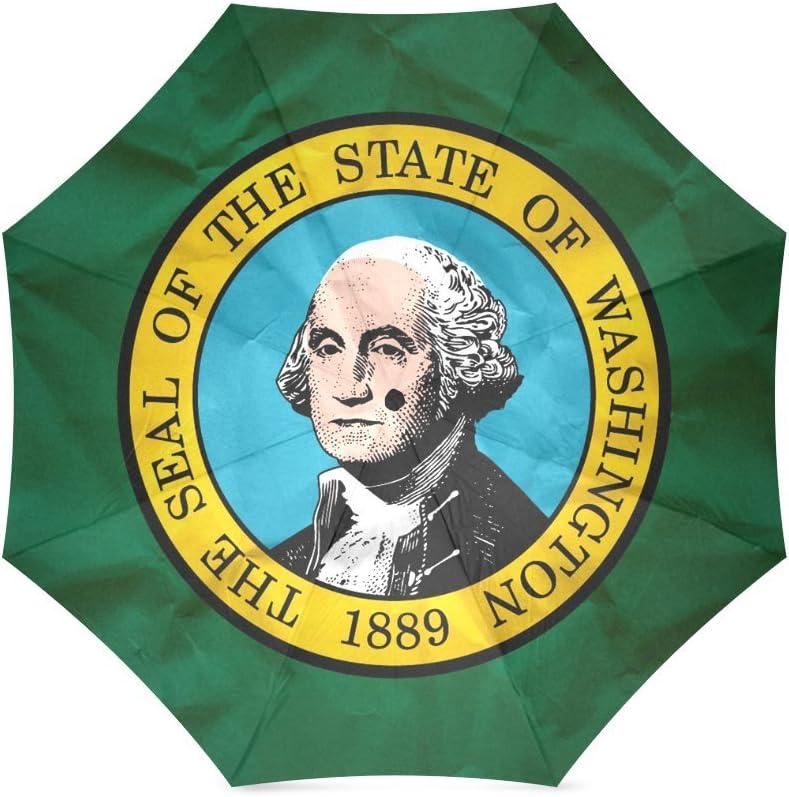 Custom Washington State Flag Compact Foldable Rainproof Windproof Travel Umbrella