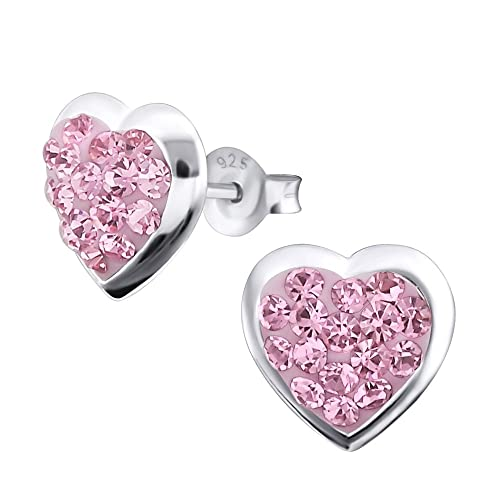 Laimons Damen-Ohrstecker Damenschmuck Herz glanz Glitzer rosa Sterling Silber 925