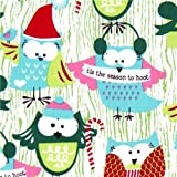 Michael Miller Christmas fabric Santa Claus owls (per 0.5 yard multiple)