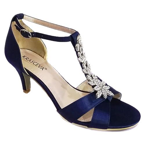 Krasceva - Zapatos con tacón mujer , color plateado, talla 35.5