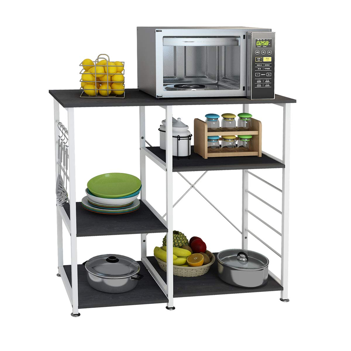 DlandHome Microwave Cart Stand 35.4 inches, Kitchen Baker's Rack Utility Storage Shelf Microwave Stand 3-Tierx3-Tier for Spice Rack Organizer Workstation Shelf, 171-B Black, 1 Pack by DlandHome