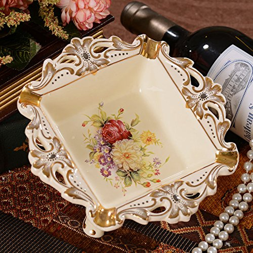 OLQMY The high-end atmosphere, European style luxury creative ashtray, dental porcelain, ceramic ashtray Home Furnishing ornaments 718cm by OLQMY