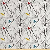 Nature Fabric by the Yard by Ambesonne, Birds Wildlife Cartoon Like Image with Tree Leaf Art Print, Decorative Fabric for Upholstery and Home Accents, Grey Maroon Blue and Mustard Yellow