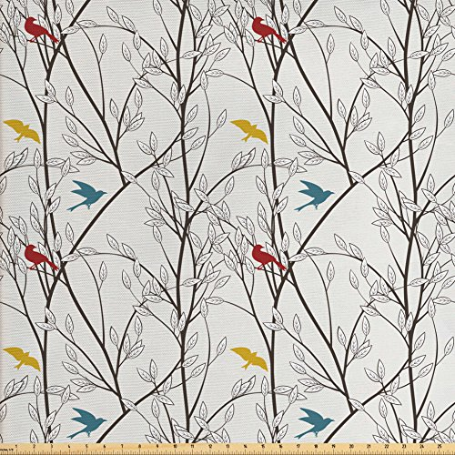 Nature Fabric by the Yard by Ambesonne, Birds Wildlife Cartoon Like Image with Tree Leaf Art Print, Decorative Fabric for Upholstery and Home Accents, Grey Maroon Blue and Mustard Yellow (Blue Yellow Fabric)