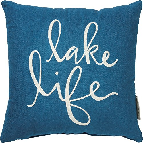Primitives by Kathy Hand-Lettered Throw Pillow, Lake Life (Throw Pillows Lake)