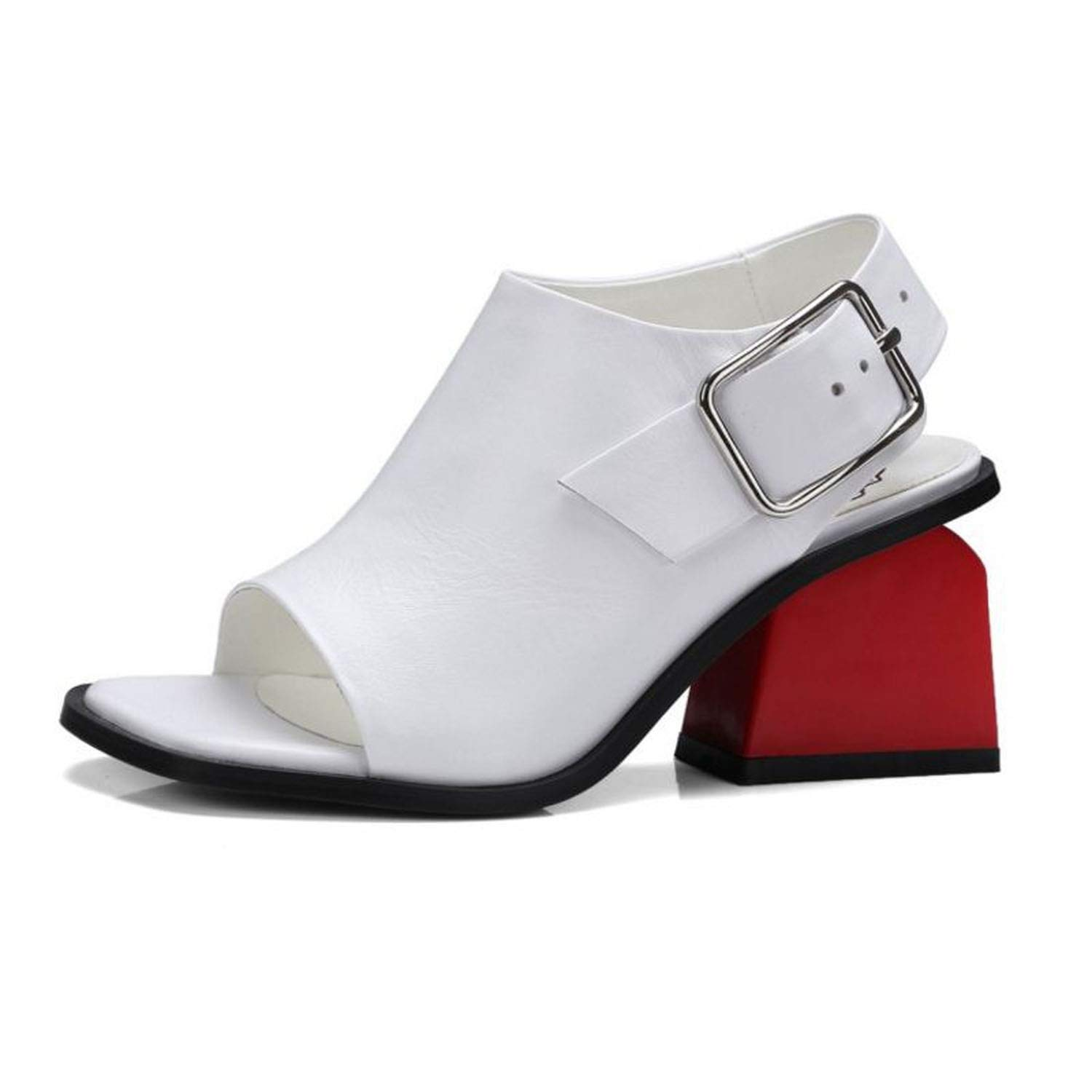 White Genuine Leather Square Peep Toe Ankle Straps Sandals High Heels Summer Causal shoes