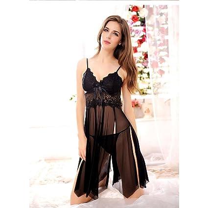 Camisón de encaje de verano camisón de gran tamaño sexy pijamas transparente gasa ropa interior sexy