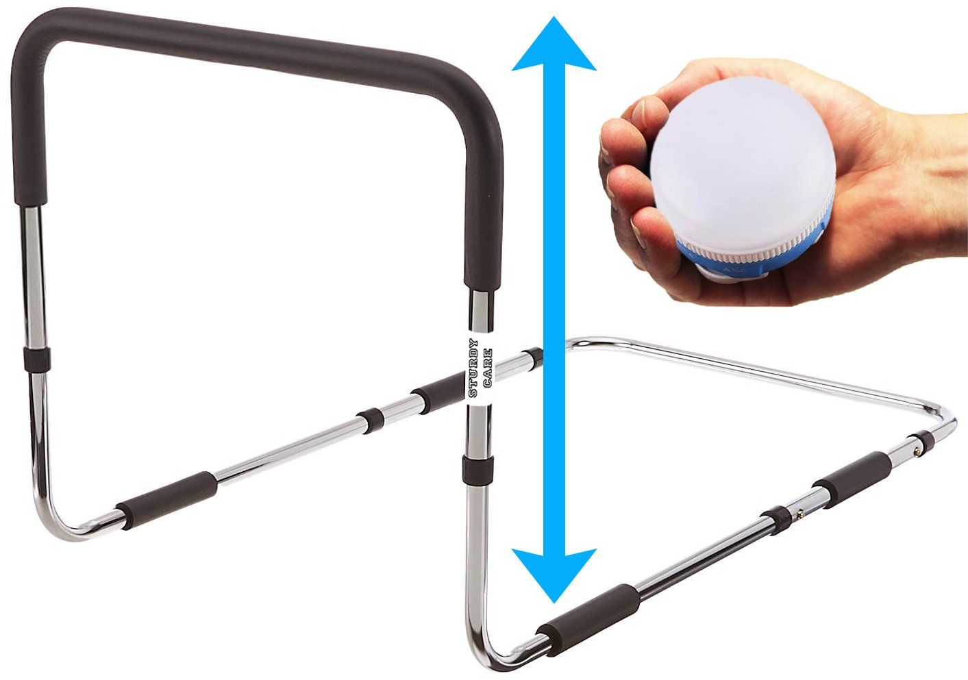 Bed Rails For Elderly with Bonus Magnetic Nightlight | Fits All Bed Sizes | Medical Grade Side Safety Support Guard for Adults Seniors Fall Prevention
