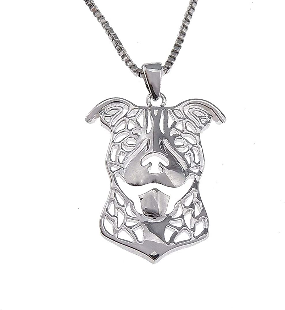 Ginger Lyne Collection Pit Bull Ears Down 925 Sterling Silver Puppy Dog Doggie Pet Pendant Box Chain Necklace Jewelry for Woman Girls