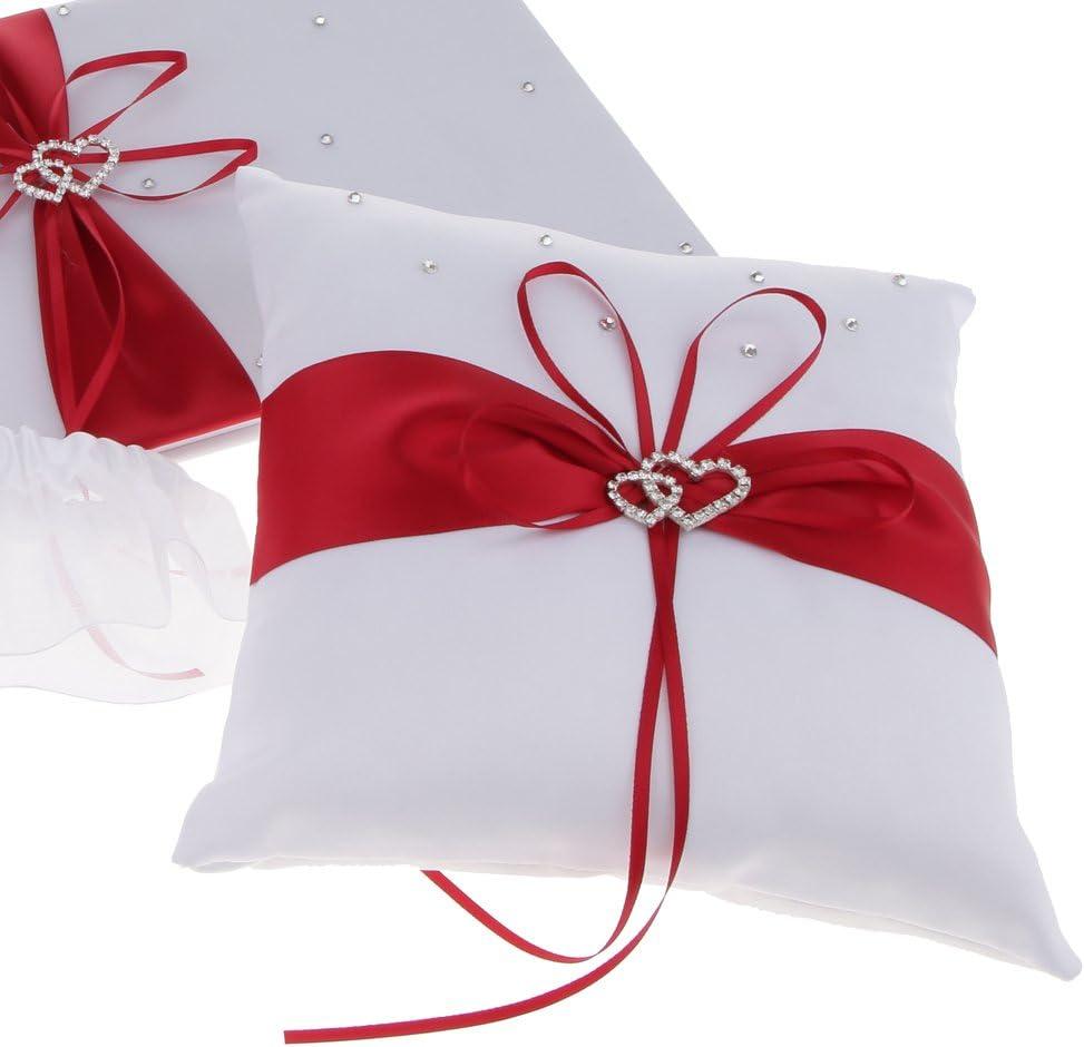 Fournitures de mariage oreiller anneau rouge fille fleur panier invit/é signe stylo livre jarreti/ère ensemble