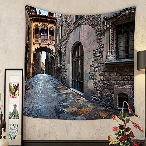 Madeleine Ellis Custom tapestry barri gothic quarter and bridge of sighs in barcelona catalonia spain by Madeleine Ellis