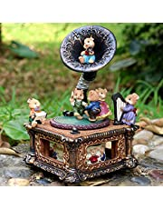 LOVE FOR YOU Vintage Mouse phonograph Music Box Musical Mechanical Classical Turntable for Women Girls mom Home Decor Ornament Birthday Gift Valentines Gift Anniversary gift(Lullaby, Classical)
