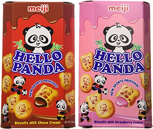 Meiji Hello Panda Chocolate, Strawberry Biscuit 2 Ounce Boxes (Pack of 10)