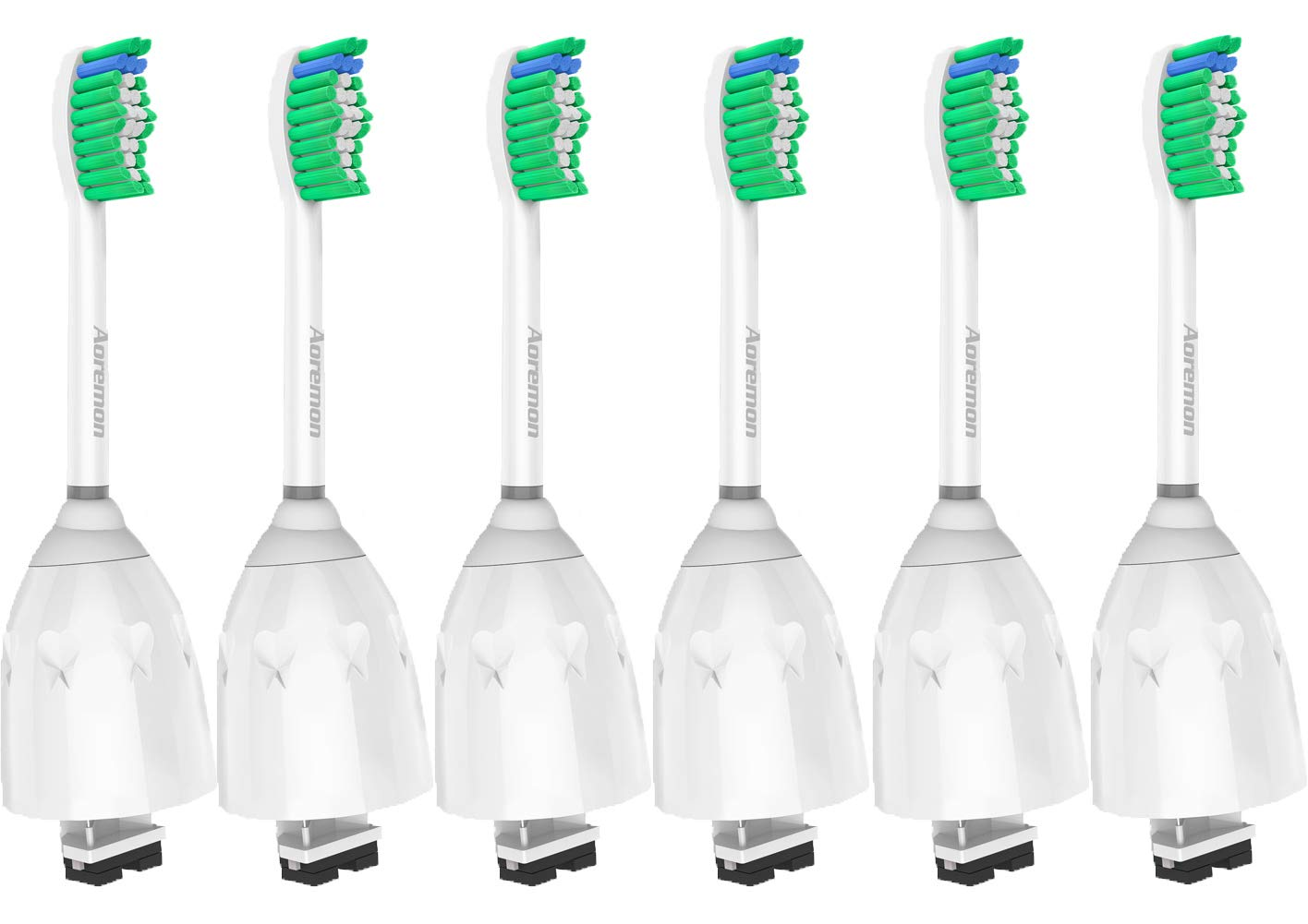 Replacement toothbrush Heads for Philips Sonicare E-Series HX7022/66, 6pack, Fit Sonicare Essence, Xtreme, Elite, Advance, and CleanCare Electric Toothbrush with Hygienic caps by Aoremon by Aoremon