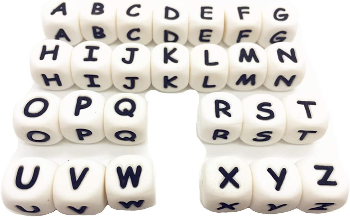 104pcs Alphabet Letter Food Grade Silicone Letters Beads BPA Free Silicone Chewing Beads for Teething Necklace Jewelry Beads (Letter 104pcs)